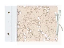 Schraubalbum Gästebuch Din A4, offener Buchrücken ,Nepal Papier ,Kirschblüten natur weiß gold weiß