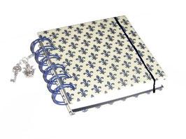 Notizbuch klein, mit blauer Ringbindung Wire-O Bindung,  Lilien blau