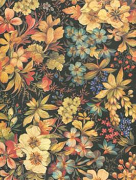 Florentiner / Italienisches Papier  50 x 70 cm  elegante Blumen dunkel