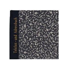 Adressbuch Telefonbuch, tanzende Noten beige auf schwarz