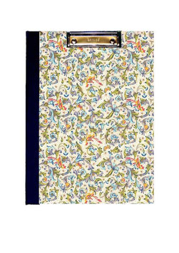 Klemmbrett Mappe DinA4 , florentiner Papier mit Golddruck,  Ornamente Vögel