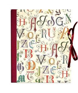Ringbuchordner für DinA4 , 3 ,5 cm breit, Florentiner Papier, Alphabetum, dunkelrot
