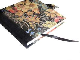 Tagebuch mit Schloß, elegante Blumen dunkel