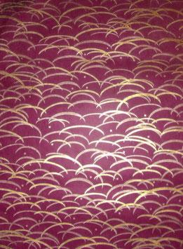 Nepal Papier / Lokta Papier Gräser kupfer gold auf mangenta rot