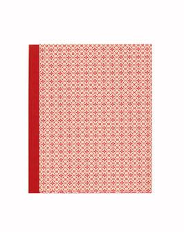 Ringordner DinA4 mit Bügelmechanik 5cm breit, Leibziger Vorsatzpapier  kleine Blümchen rot
