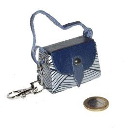 Tampon Tasche / Anhänger Nepalpapier Wellen helblau dunkelblau