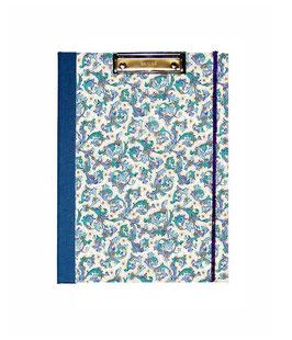 Klemmbrett Mappe DinA4 , Florentiner Papier Ornamente blau