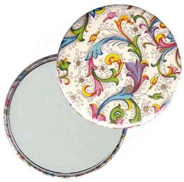 Taschenspiegel,Handspiegel, oder Flaschenöffner mit Magnet  ,Button, 59 mm Durchmesser,Florentiner Papier Trend