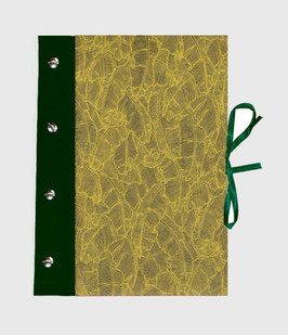 Fotoalbum Schraubalbum DinA4  , Hochformat mit geschlossenem Buchrücken,Baumwollpapier Paradise Khaki Lime, mit dunkelgrünem Bucleinen