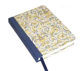 Kalender / Buchkalender / Taschenkalender 2019 DinA6, Florentiner Papier blau gelb grün mit Golddruck, cremfarbiges Papier