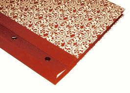 Fotoalbum Schraubalbum DinA4  Carte Varese Ornamente rot ,mit geschlossenem Buchrücken