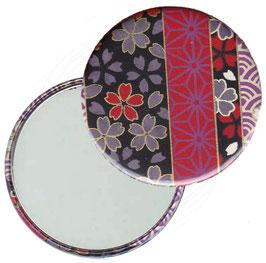 Flaschenöffner mit Magnet oder Taschenspiegel,Handspiegel  ,Button, 59 mm Durchmesser,Chiyogami Yuzen Papier,Streifenmuster Blümchen auf schwarz
