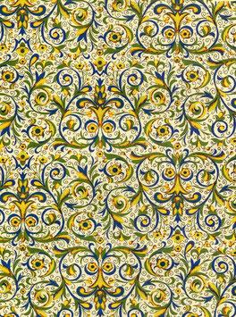 Florentiner / Italienisches Papier  50 x 70 cm Ranken blau gelb gold