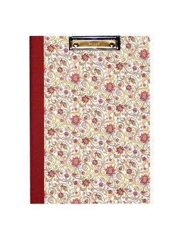 Klemmbrett Mappe DinA4 , Carta Varese Papier Blumen  rot gelb grün
