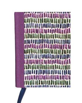 Kalender / Buchkalender / Taschenkalender 2019 DinA7,Leibziger Vorsatzpapier kleine Balken lila grün blau