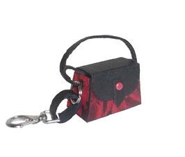 Tampon Tasche / Anhänger Mini rot schwarz