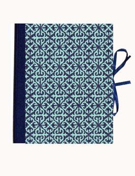 Ringordnerordner Din A5, 4  cm breit,mit Baumwollpapier,Barockmuster türkis dunkelblau zweifach Mechanik