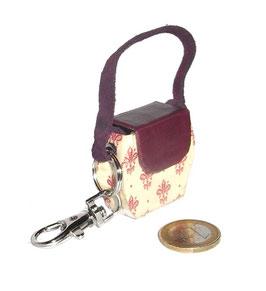 Kleine Mini Tasche als Anhänger / Schlüsselanhänger Florentiner Papier kleine Blumen Kronen rot mit goldenen Punkten