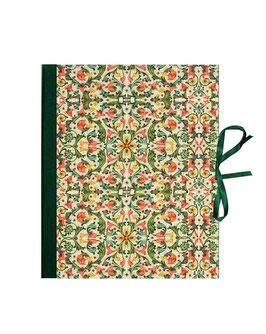Ringbuchordner  DinA4  Florentiner Papier  Ornamente bunt grün gold, 3 cm breit