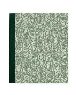 Ringordner 8 cm breit mit Hebelmechanik , Leibziger Vorsatzpapier Hölzer grün mit Tippklemmer