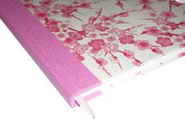 Gästebuch / Schreibbuch / Tagebuch, Yuzen Papier pink ros auf weiss beige