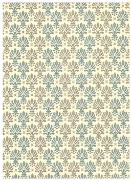 Florentiner / Italienisches Papier  50 x 70 cm Ornamente türkis grün gold