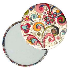 Taschenspiegel,Handspiegel, oder Flaschenöffner mit Magnet  ,Button, 59 mm Durchmesser,Florentiner Papier kleine Ornamente bunt gold