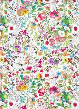 Florentiner / Italienisches Papier 50 x 70 cm Libellula , Blumenfeld mit Libellen, mit Golddruck