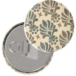 Taschenspiegel,Handspiegel, oder Flaschenöffner mit Magnet  ,Button, 59 mm Durchmesser,Ornamente grün gold mit Golddruck