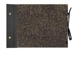 Schraubalbum Gästebuch Din A4, offener Buchrücken ,Nepal Papier , Krikelkrakel gold auf schwarz