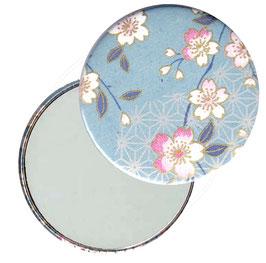 Flaschenöffner mit Magnet oder Taschenspiegel,Handspiegel  ,Button, 59 mm Durchmesser,Chiyogami Yuzen Papier,Kirschblüten hellblau rosa
