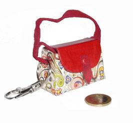 Tampon Tasche / Anhänger, Florentiner Papier kleine Ornamente bunt gold