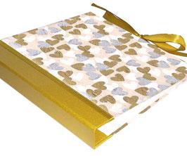Ringordner Din A5, 3 cm breit, Ringordner DinA5,Herzen gold silber weiß, zweifach Mechanik, mit Satinbänder