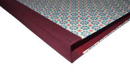 Ringbuchordner für DinA4 Blumen rot blau, bordaux roter Buchleinen,3 cm breit