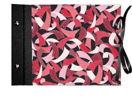 Fotoalbum Schraubalbum DinA4  ,  geschlossener Buchrücken,Japanpapier Chiyogami, Sichelmuster rot rosa