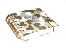 Notizbuch klein, mit goldener Ringbindung Wire-O Bindung, Nepal Papier Herzen silber gold weiß