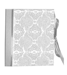 Ringordner Din A5, 3 cm breit, Ringordner DinA5,Blumenbrokat silber, zweifach Mechanik, mit Satinbänder