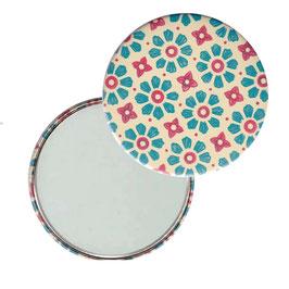 Flaschenöffner mit Magnet oder Taschenspiegel,Handspiegel  ,Button, 59 mm Durchmesser, Carta Varese Papier,Blümchen blau rot