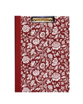 Klemmbrett Mappe DinA4 , Carta Varese Papier große Blumen rot