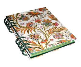 Telefonbuch / Notizbuch Din A6, mit grüner Ringbindung Wire-O Bindung, Register ABC grün, Florentiner Papier buntes Fahnenkraut