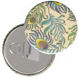 Taschenspiegel,Handspiegel, oder Flaschenöffner mit Magnet  ,Button, 59 mm Durchmesser, Peacock mit Golddruck