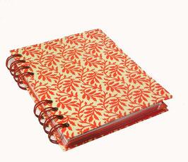 Telefonbuch / Notizbuch Din A6, mit roter Ringbindung Wire-O Bindung, Register ABC rot, Blätterranken rot