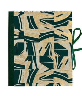 Ringbuchordner für DinA4 , 3 ,5 cm breit, Nepalpapier, Kacheln schilf petrol gold