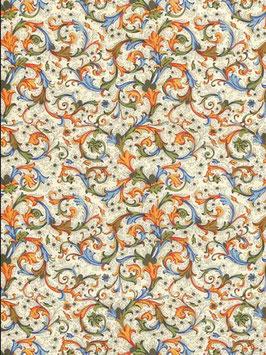 Florentiner / Italienisches Papier  50 x 70 cm  Florentia Style,blau orange mit Golddruck