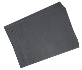 Zusatzblätter 10 Fotoblätter / für Fotoalben / Schraubalben , schwarz, Querformat, zweifach gerillt , zweifach gelocht