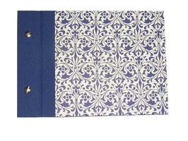 Fotoalbum Schraubalbum Din A5,  Ornamente blau Querformat, mit offenem Buchrücken