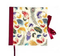 Gästebuch / Schreibbuch / Tagebuch , Florentiner Papier Federn mit Golddruck rot