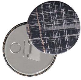 Flaschenöffner mit Magnet oder Taschenspiegel,Handspiegel  ,Button, 59 mm Durchmesser, black gold silver
