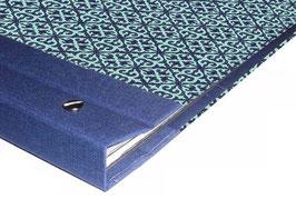 Schraubalbum Gästebuch, Reisetagebuch, Din A4 quer,  Baumwollpapier Barockmuster blau türkis,mit Buchrücken