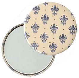 Taschenspiegel,Handspiegel, oder Flaschenöffner mit Magnet  ,Button, 59 mm Durchmesser, Blumenkrönchen blau  mit Golddruck